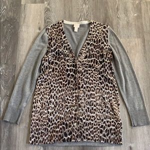 Chico's Leopard Animal Print Jeweled Cardigan